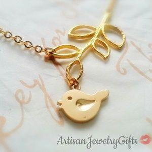 16K Gold Bird Branch Necklace